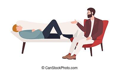 à côté de, entraîneur, aid., illustration., fournir, séance, psychothérapeute, psychotherapeutic, mâle, plat, ou, psychologique, vecteur, psychologue, professionnel, session., psychanalyste, dessin animé, mensonge, homme