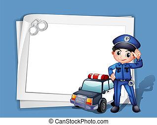à côté de, voiture, police, policier