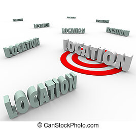 à, destination, cible, voyage, vivant, recherche, une, priorité, rouges, endroit, emplacement, mots, conclusion, confection, travail, ou, mieux, illustrer