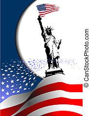 –, uni, image., aigle, américain, 4ème, etats, drapeau, vecteur, america., juillet, jour, indépendance