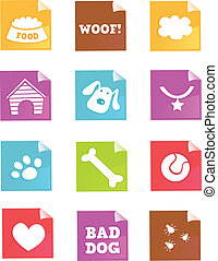 –, vecteur, chien, icônes
