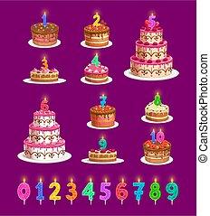 âge, anniversaire, nombres, bougies, ensemble, gâteaux