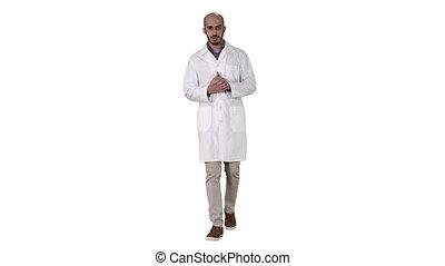 âge, uniforme, porter, transmettre indiquer, arrière-plan., monde médical, regarder, paume, docteur, présentation, blanc, homme, milieu, appareil photo