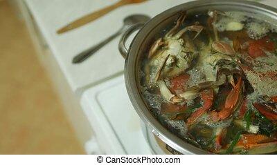 ébullition, bleu, water., pot, fruits mer, cuit, sortez, crabes, stove., cuisine
