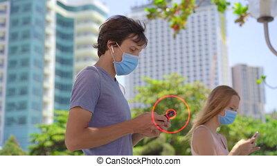 échange, propriétaires, notification, social, contact, homme, personne, obtient, dangereux, concept, app, covid-19, sur, promenades, sien, smartphones, tracer, débrouiller, contacts, potentiellement, nearby., pandemic., données