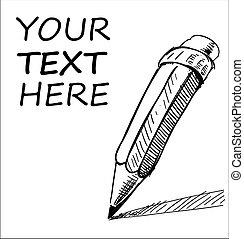 échantillon, crayon, texte