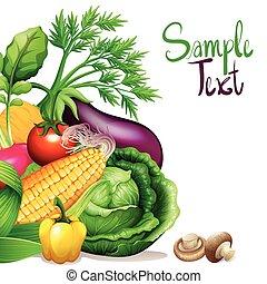 échantillon, texte, légumes, frais, espace