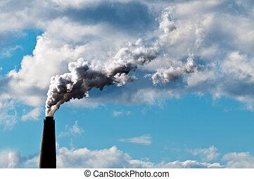 échappement, atmosphère, co2, montant, gaspillage, cheminée