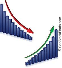 échec, croissance, business, graphiques
