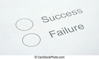 échec, ou, reussite