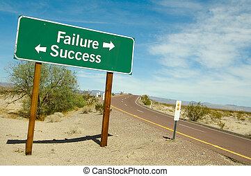 échec, ou, reussite, signe