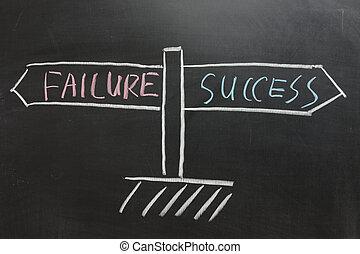 échec, route, reussite, signe