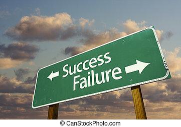 échec, vert, route, reussite, signe