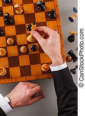 échecs, jouer, game., homme affaires