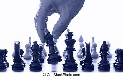 échecs, main, planche