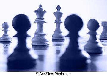 échecs, reine, attaque, blanc