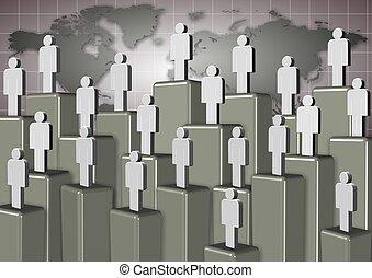 échelle, constitué, gens