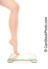 échelle, femme, fearing, poids, jambe