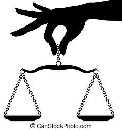 échelle, main, personne, tenue, peser, équilibre