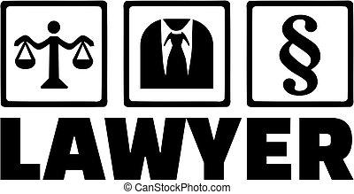 échelle, mot, icônes, paragraphe, avocat, complet