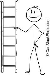 échelle, ou, tenue, petit, homme affaires, dessin animé, homme