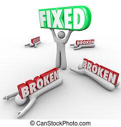 échouer, une, réparation, personne, problème, cassé, résout, fixe, autres, vs