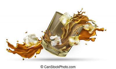éclaboussé, cubes, alpha, glace, channel., whisky