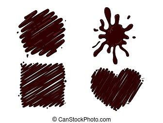 éclaboussure, chaud, blanc, ensemble, chocolat, isolé