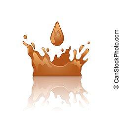 éclaboussure, chocolat, isolé, gouttelette, reflet, couronne