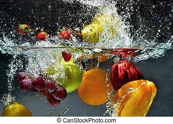 éclaboussure, fruit frais, eau