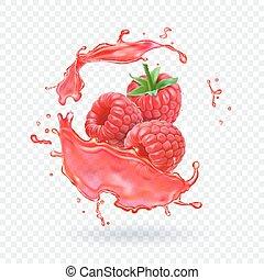 éclaboussure, illustration, jus, fruit, vecteur, frais, framboise