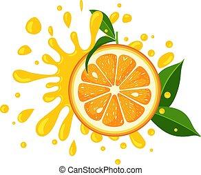 éclaboussure, juteux, tranche orange, feuilles, vert