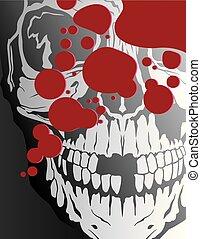 éclaboussure, sanguine, crâne