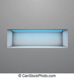 éclairé, étagère, néon, vecteur, exposition, lumière, illustration.