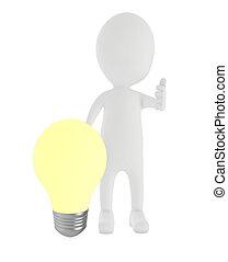 éclairé, ampoule, 3d, présentation, homme, caractère