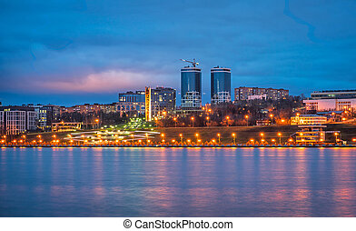 éclairé, nuit, ville, bâtiments., panorama
