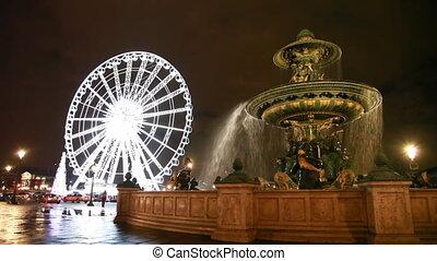 éclairé, roue, mers, fontaine, la, de, concorde, ferris, endroit, from