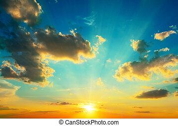 éclairé, sunlight., nuages, sunset.