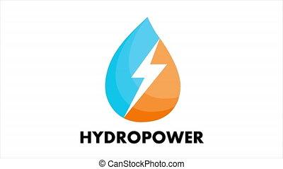 éclair, hydropower, logo, concept, goutte, eau