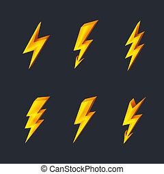 éclair, icônes