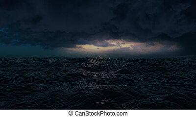éclair, pendant, storm., orage