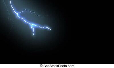 éclair, storm., arrière-plan., coups, réaliste, vidéos, noir, coups foudre, animation, 17, ensemble, électrique, beau, boucle, bleu