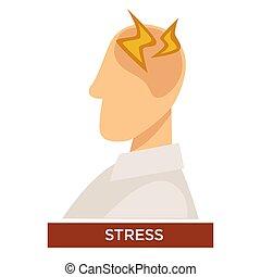 éclair, tension, tête, personne, signes, symptôme, douleur