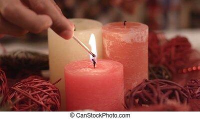 éclairage, enfant, candles., noël, main