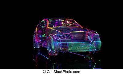 éclairage, voiture, verre, néon