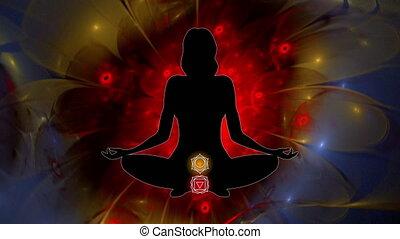 éclaircissement, symboles, femme, vidéo, chakra, méditer, lotus, coloré