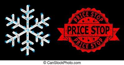 éclat, cachet, coût, taches, clair, filet, flocon de neige, arrêt, caoutchouc, polygonal
