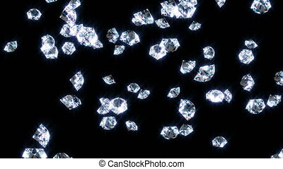 éclat, diamants, tomber, noir, lentement