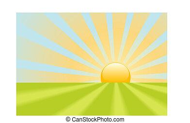 éclat, rayons, scène, jaune, clair, la terre, levers de soleil