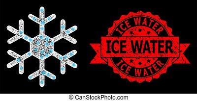 éclat, taches, clair, maille, glace, timbre, flocon de neige, toile, gratté, eau
